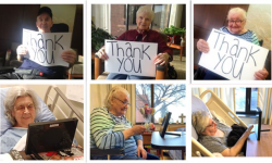 """A collage of photos of the residents of St. Michael's Long Term Care Home using their tablets.  Some are holding signs that say """"thank you""""."""